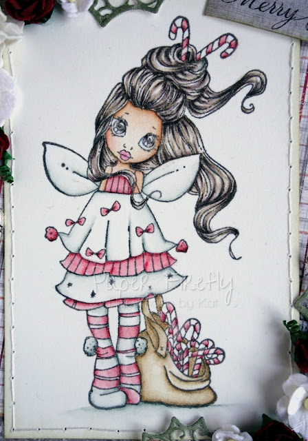 Cosy Christmas card in red and grey with candy cane fairy