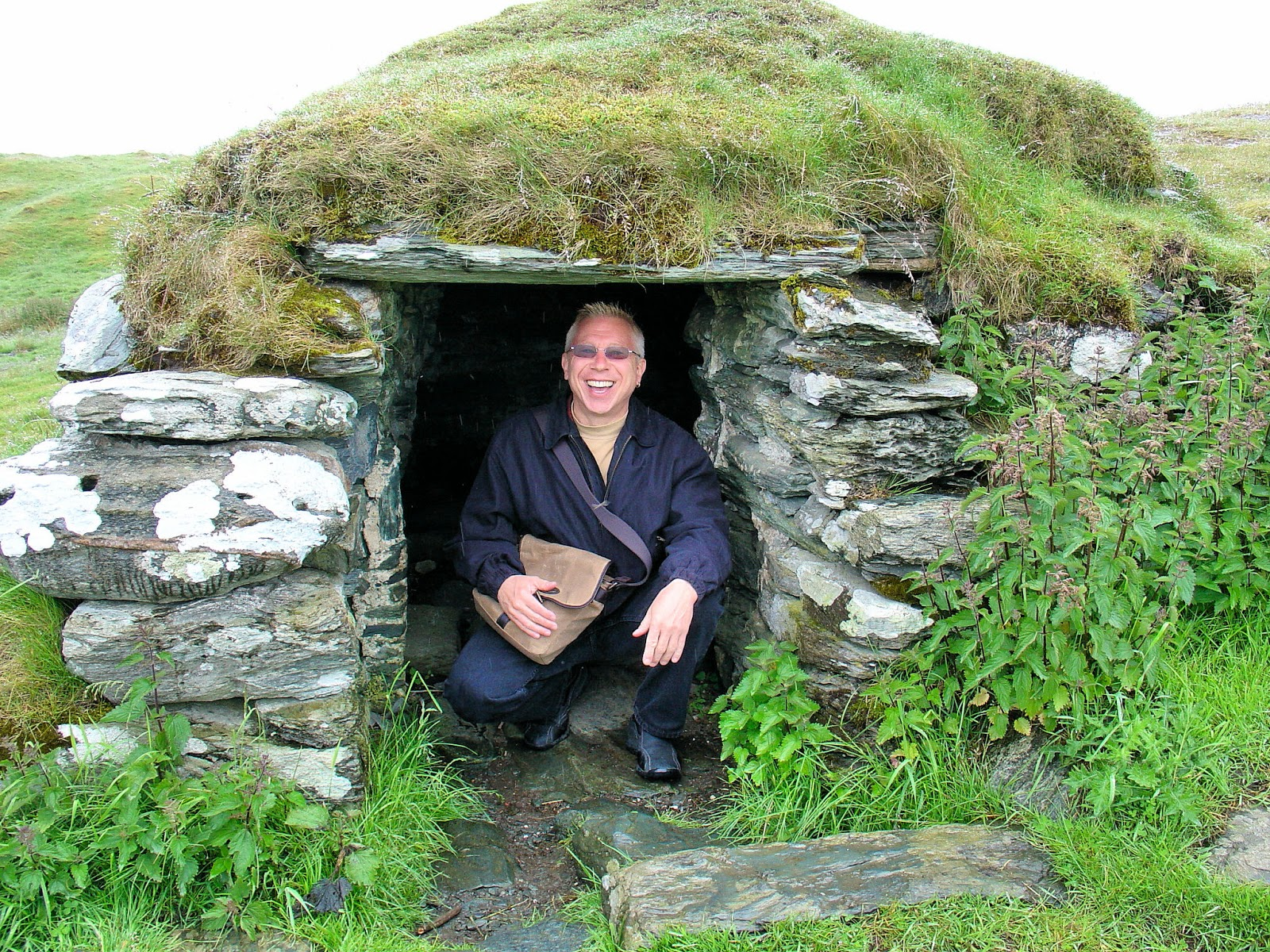 I bid you farewell from inside the potato cellar on Gloppehavn, just outside the Viking settlement. The cellar remained frostproof in the winter and cool in summer.