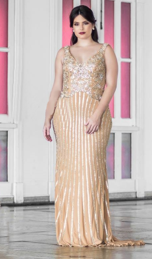 vestido dourado plus size