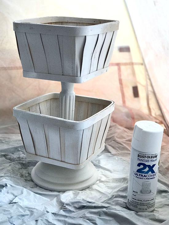 Using a Spray Shelter to Spray Paint a Tiered Basket.