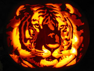 tiger head pumpkins carving arts