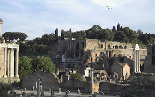 The ruins of the Palace of Augustus on the Palatine Hill, seen from the Roman Forum