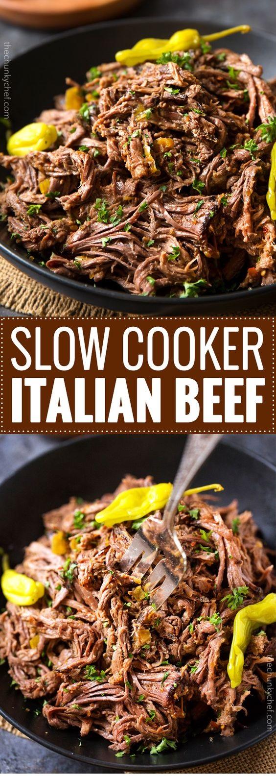 Slow Cooker Shredded Italian Beef
