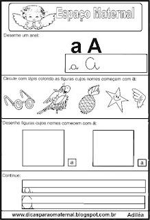 Atividade com vogal educação infantil