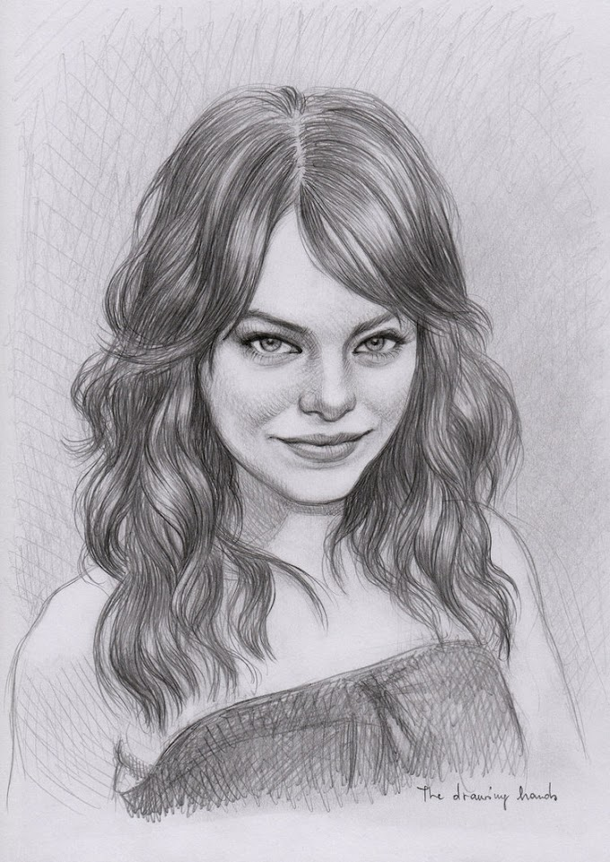 رسومات سهلة للمبتدئين للممثلة الامريكية إيما ستون