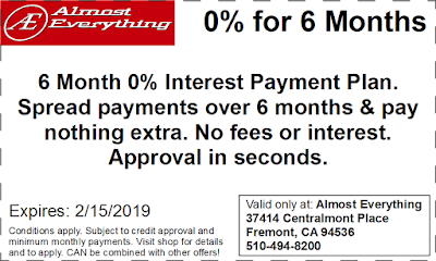 Coupon 6 Month Interest Free Payment Plan January 2019