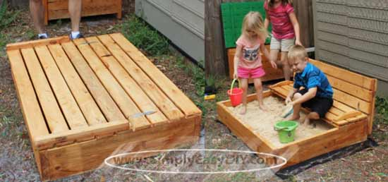 DIY Covered Sandbox with Shade Canopy & Simply Easy DIY: DIY Covered Sandbox with Shade Canopy
