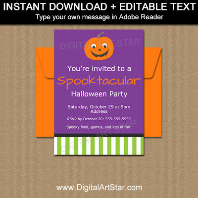 printable pumpkin invitation for kids halloween party