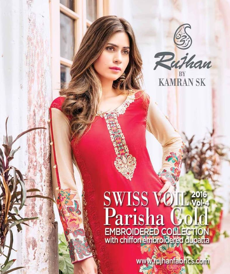 eaf1e3b24e 4Seasons Fashion: Rujhan Parisha Gold Embroidered Swiss Voil 2016-17 ...
