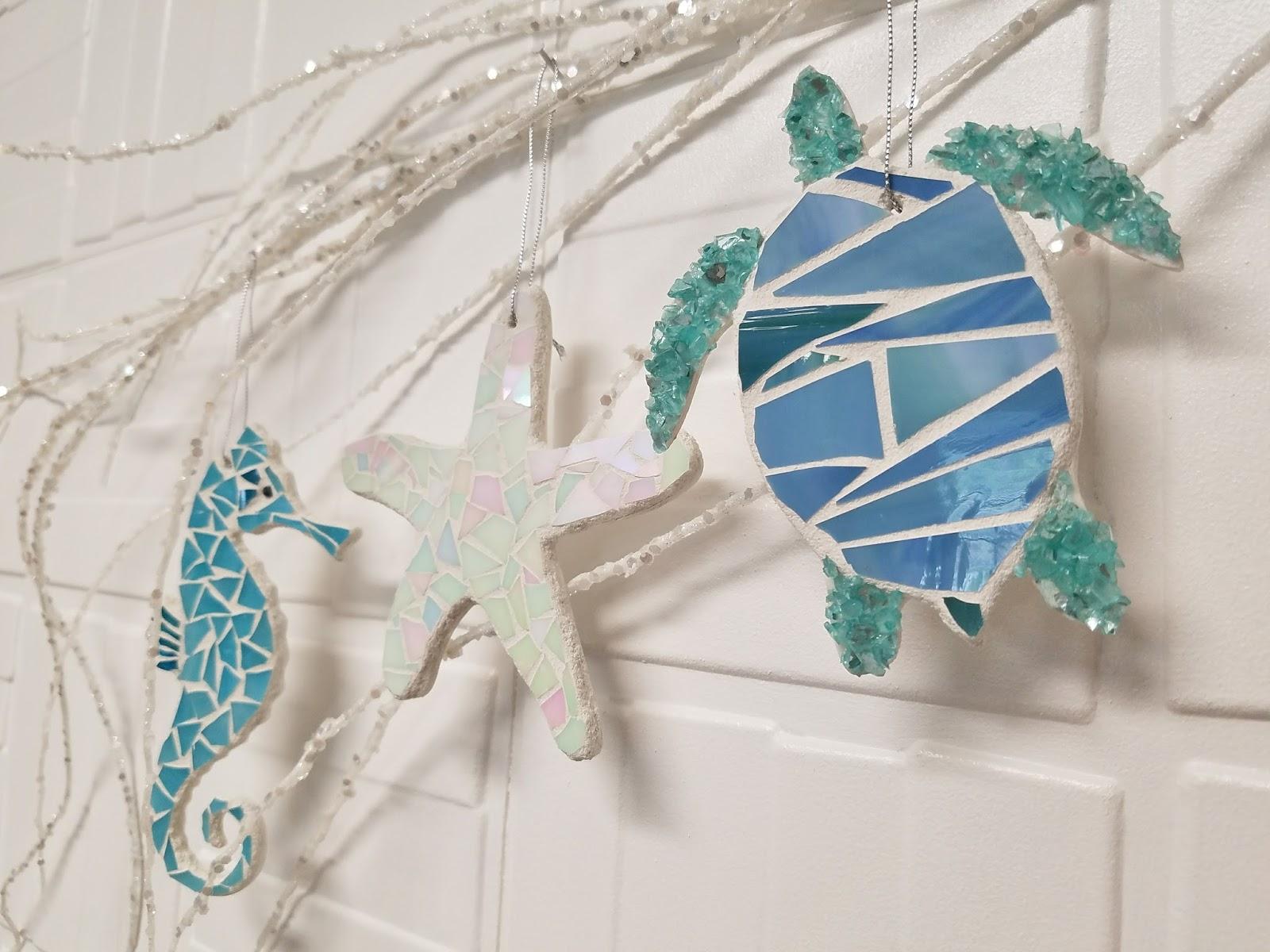 lucydesignsartcom coastal beach stained glass mosaic ornaments - Coastal Christmas Stockings