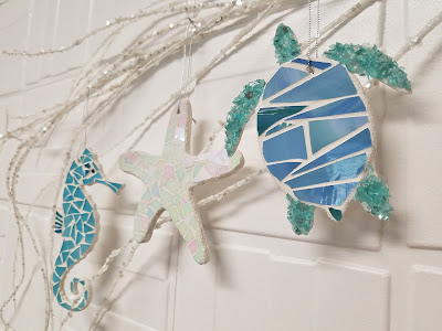 LucyDesignsart.com coastal beach stained glass mosaic ornaments