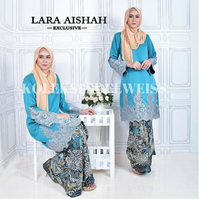 Lara Aisyah Baju Kurung Moden Sulam  biru