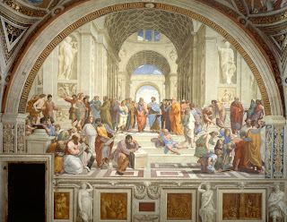 Some of the most notable figures that are portraited are:  Epicurus - Heraclitus - Democritus - Boethius - Pythagoras - Euclid - Archimedes - Zeno of Citium - Timon of Athens - Diogenes of Sinope - Alcibiades - Protogenes - Apelles of Kos - Strabo - Ptolemy - Socrates - Platon - Aristotle - Alexander the Great - Anaximander - Empedocles - Averroes - Alcibiades - Parmenides - Plotinus - Zoroaster - Xenophon - Aeschines - Antisthenes - Leonardo da Vinci - Raphael - Michelangelo - Donatello - Il Sodoma - Pietro Perugino - Timoteo Viti - Donato  Bramante - Baldassare Castiglione - Francesco Maria I della Rovere - Giuliano da Sangallo