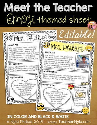 Meet the Teacher Editable Template - Emoji Theme
