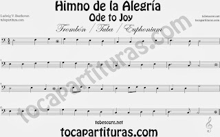 Partitura de para Trombón, Tuba Elicón y Bombardino 9º Sinfonía by Beethoven Sheet Music for Trombone, Tube, Euphonium Music Scores