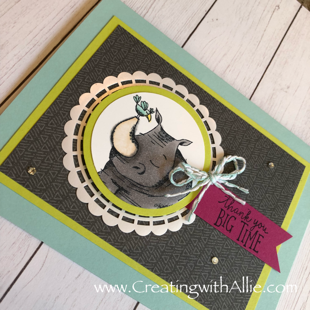 Check out the video tutorial showing you how to make a quick and easy card, where I show you tips and tricks for using Stampin Up's Animal Expedition suitel!  You'll love how quick and easy this is to make!  www.creatingwithallie.com #stampinup #alejandragomez #creatingwithallie #videotutorial #cardmaking #papercrafts #handmadegreetingcards #fun #creativity #makeacard #sendacard #stampingisfun #sharewhatyoulove #handmadecards #friendshipcards