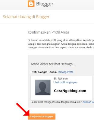 Melanjutkan ke Blogger.com