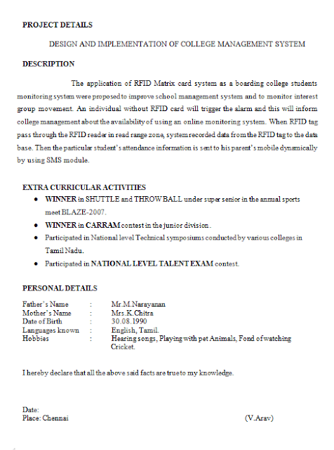 sample resume for final year engineering student professional