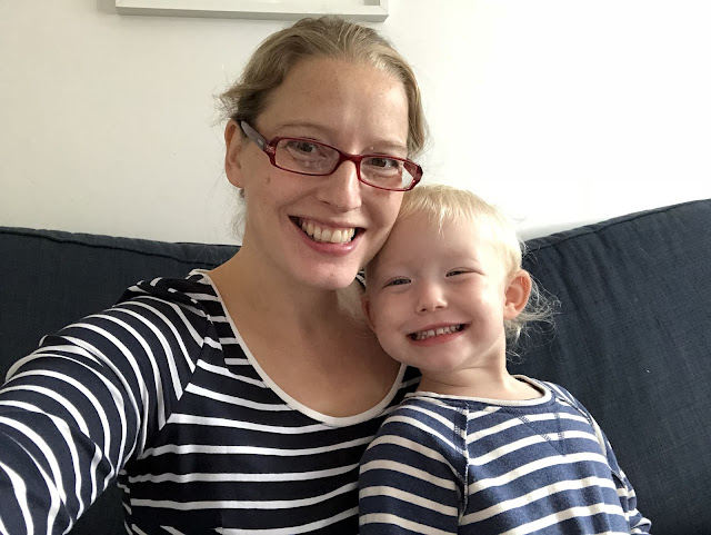 Me and My toddler both happy and wearing matching tops