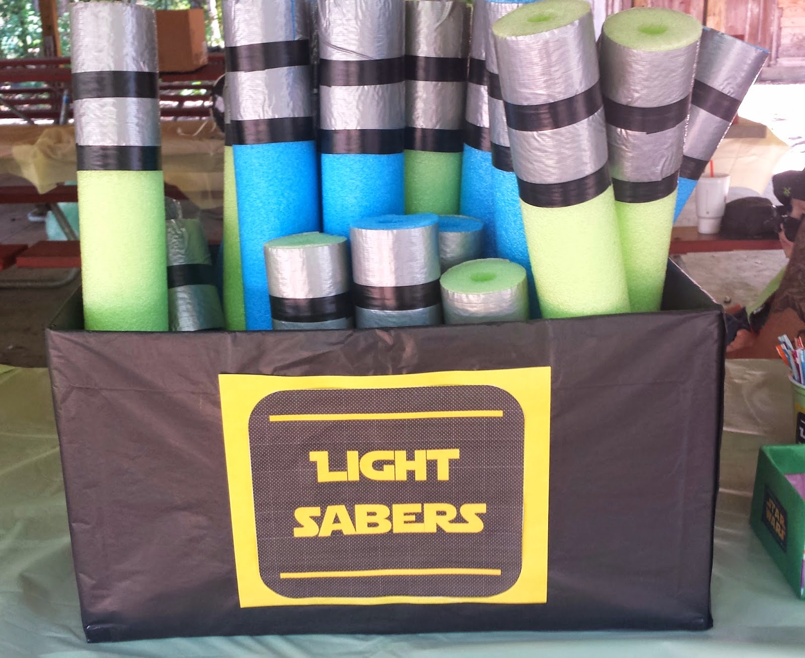 light saber pool noodles, Star Wars party
