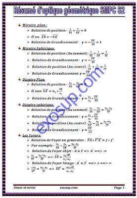 résumé d'optique géométrique smpc s2