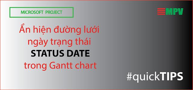 Ẩn hiện đường lưới ngày trạng thái (Status date) trong Gantt chart