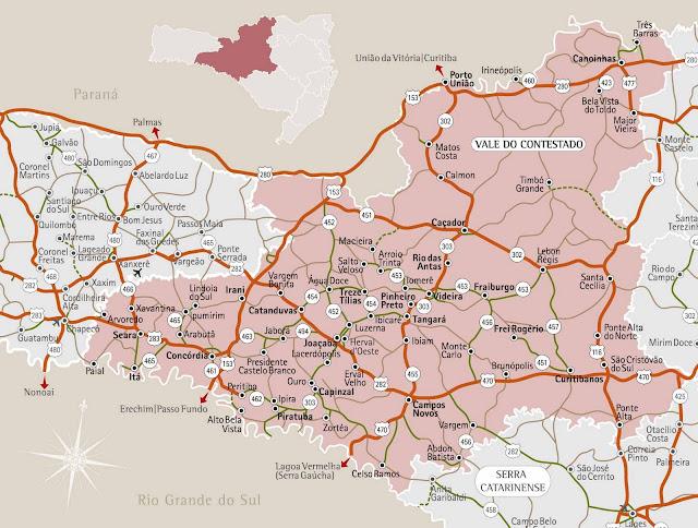 Mapa da região do Vale do Contestado - Santa Catarina
