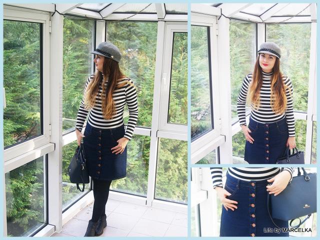 4bacef165a9f6 76 Stylizacja Z Golfem W Paski I Jeansową Spódnicą Na Paryżankę