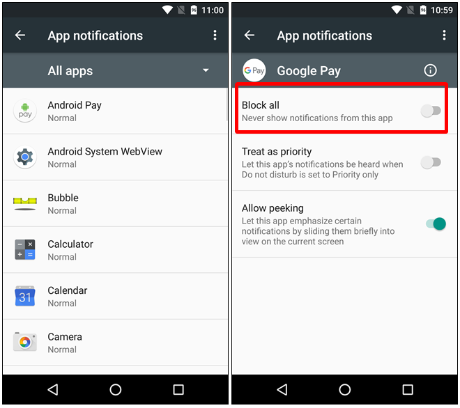 opzioni di notifica  android