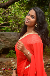 Actress Rishika Pictures in Red Saree at Lovers Park Movie Opening 0030
