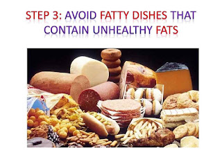 Avoid fatty dishes that contain unhealthy fats