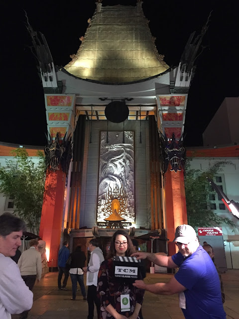 TCM filming Raquel Stecher outside of Grauman's Chinese Theater