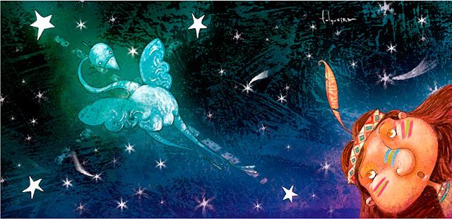 Leyenda Mocoví del Suri, ilustración de Rodrigo Folgueira