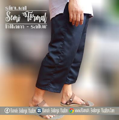 Celana Sirwal Semi Formal Hitam Salur