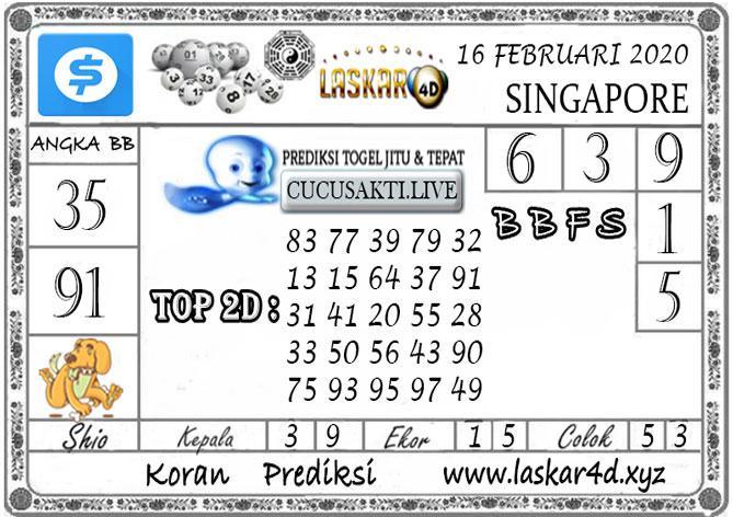 Prediksi Togel SINGAPORE LASKAR4D 16 FEBRUARI 2020