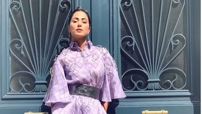 Hina Khan at the Cannes 2019 Red Carpet in Lavender Armine Ohanyan Collared Gown