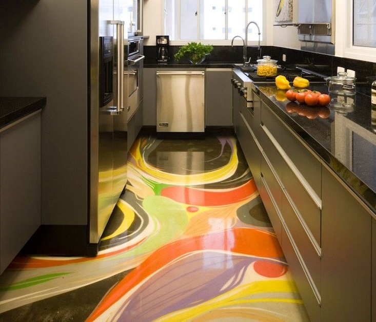 3D Floor Art With Epoxy Coating For Kitchen Flooring