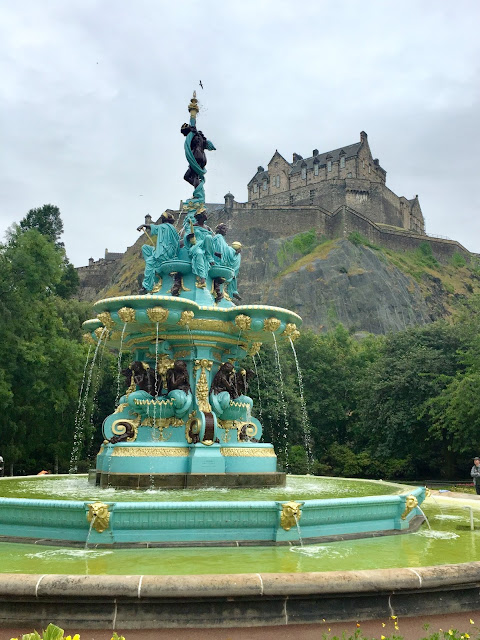 Ross Fountain & Edinburgh Castle from Princes Street Gardens, Edinburgh, Scotland