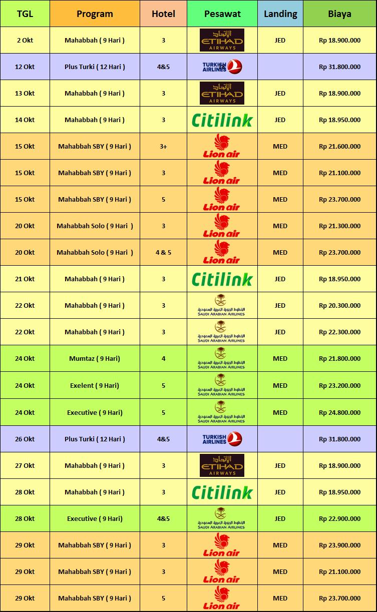 jadwal & Biaya Paket Umroh Oktober 2018