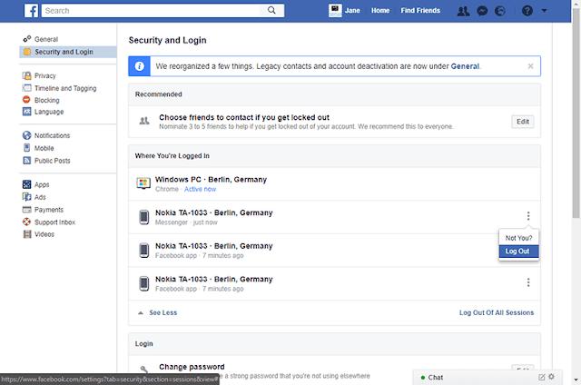 facebook messenger logout pc