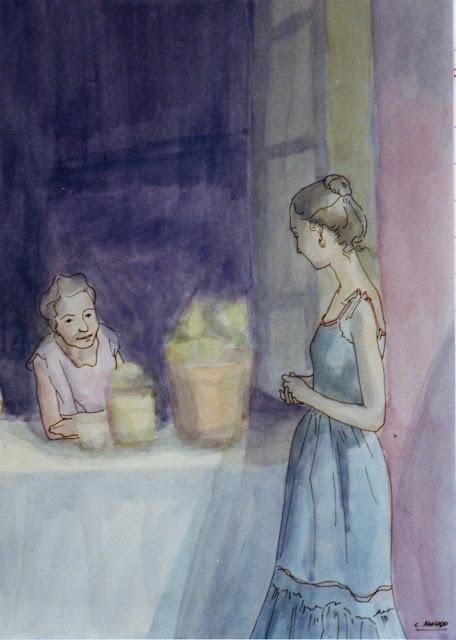 Cristina Alonso arte original acuarela dos mujeres charlando familia
