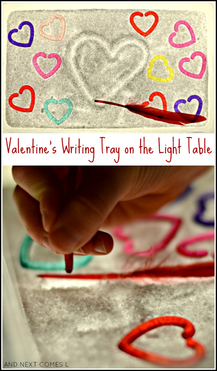 Valentine's themed salt tray on the light table - great prewriting activity for toddlers and preschoolers from And Next Comes L