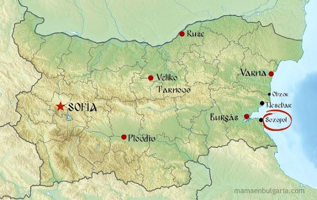 Sozopol en Bulgaria mapa