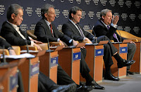 Tony Blair, David Harris, and Rick Warren at the annual meeting of the World Economic Forum in Davos, Switzerland in 2008.