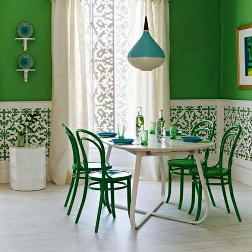 Diseño de comedor verde