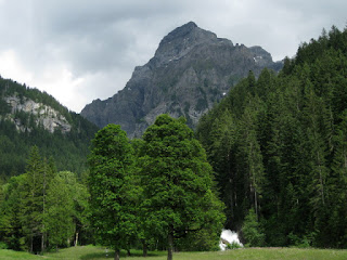 View of the Simmenfälle between the trees, mountain peak in the distance, near Lenk, Switzerland