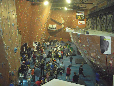 Overview of bouldering competition at PRG Valley rock gym