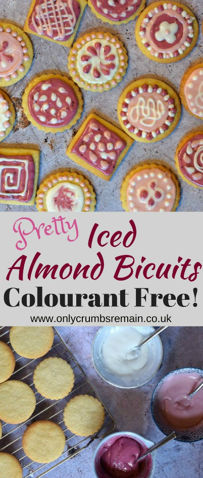 How to make Iced Almond Biscuits decorated with an additive free icing which has been tinted with jam.