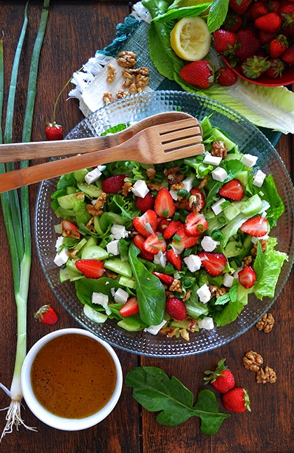 Strawberry Salad With Honey Dressing - shewandersshefinds.com