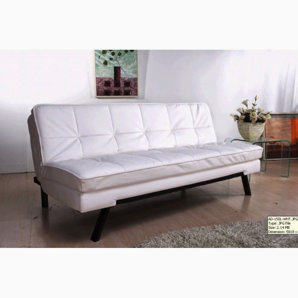 white leather couch bed